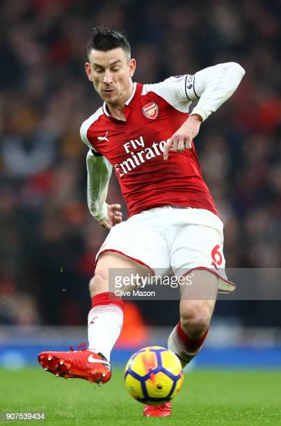 Laurent Koscielny of Arsenal passes the ball during the Premier League match between Arsenal and Crystal Palace at Emirates Stadium on January 20...