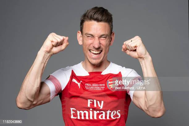 Laurent Koscielny of Arsenal poses for a photo during the Arsenal Europa League Final Media Day at London Colney on May 21 2019 in St Albans England