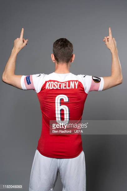 Laurent Koscielny of Arsenal poses for a photo during the Arsenal Europa League Final Media Day at London Colney on May 21, 2019 in St Albans,...