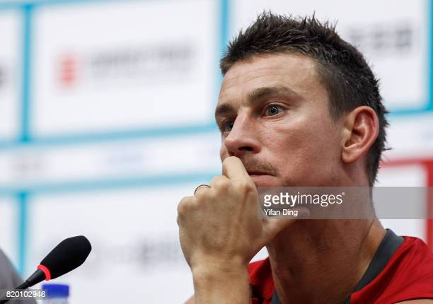 Laurent Koscielny of Arsenal reacts during prematch press conference at Birds Nest on July 21 2017 in Beijing China
