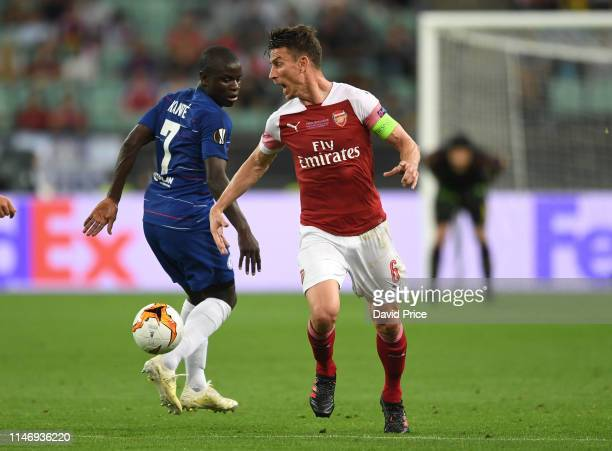 Laurent Koscielny of Arsenal takes on N'Golo Kante of Chelsea during the UEFA Europa League Final between Chelsea and Arsenal at Baku Olimpiya...