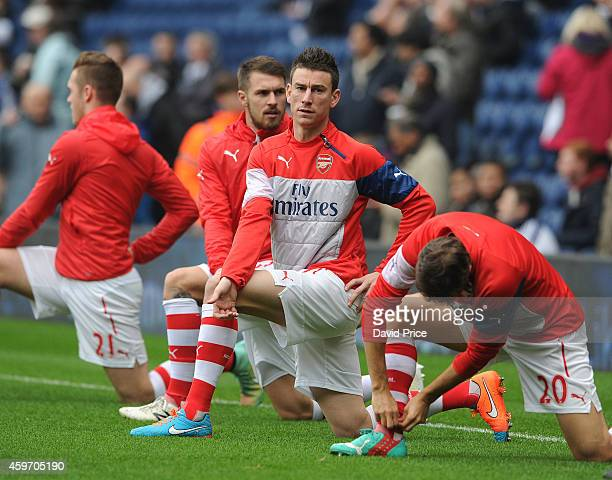 Laurent Koscielny of Arsenal warms up before the match between West Bromwich Albion and Arsenal in the Barclays Premier League at The Hawthorns on...