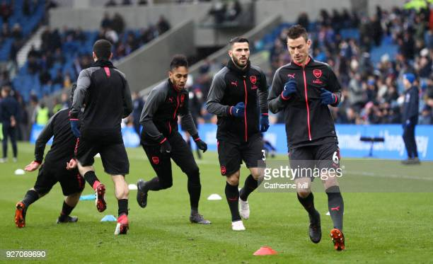 Laurent Koscielny of Arsenal warms up prior to the Premier League match between Brighton and Hove Albion and Arsenal at Amex Stadium on March 4 2018...