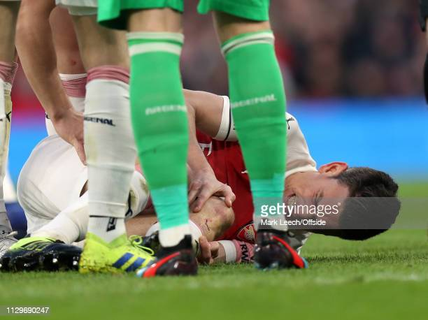 Laurent Koscielny of Arsenalholds his injured knee during the Premier League match between Arsenal FC and Manchester United at Emirates Stadium on...