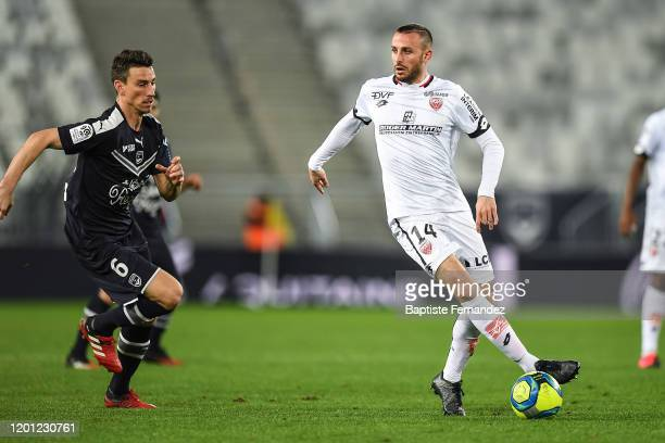 Laurent KOSCIELNY of Bordeaux and Jordan MARIE of Dijon during the French Ligue 1 Soccer match between Bordeaux and Dijon at Stade Matmut Atlantique...