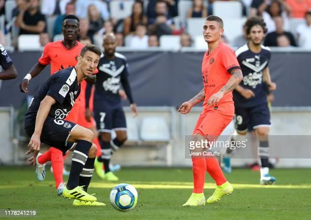 Laurent Koscielny of Bordeaux, Marco Verratti of PSG during the Ligue 1 match between FC Girondins de Bordeaux and Paris Saint-Germain at Stade...