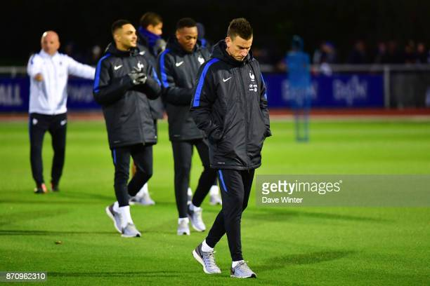 Laurent Koscielny of France is part of a large group who did not train during the training session at the Centre National de Football in...