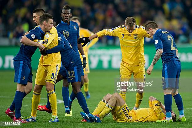 Laurent Koscielny of France reacts after he was sent off during the FIFA 2014 World Cup Qualifier Playoff First Leg soccer match between Ukraine and...