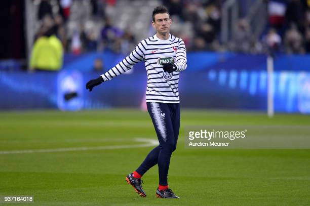 Laurent Koscielny of France reacts during warmup before the international friendly match between France and Colombia at Stade de France on March 23...
