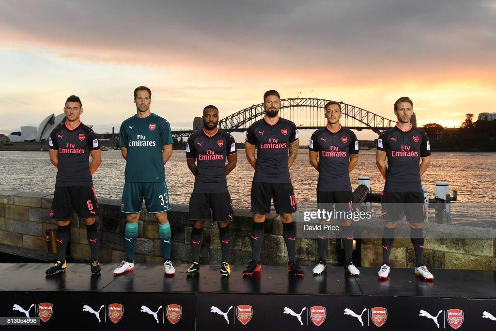 Laurent Koscielny, Petr Cech, Alexandre Lacazette, Olivier Giroud, Mesut Ozil and Nacho Monreal of Arsenal launch the new Puma Arsenal 3rd kit on Fort Dennison on July 12, 2017 in Sydney, Australia.