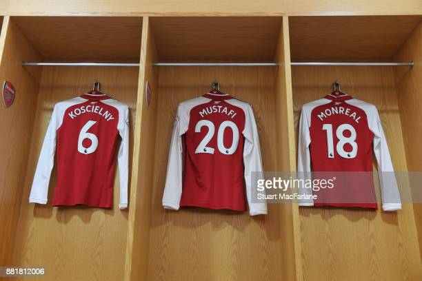 Laurent Koscielny Shkodran Mustafi and Nacho Monreal shirts hangs in the Arsenal changing room before the Premier League match between Arsenal and...