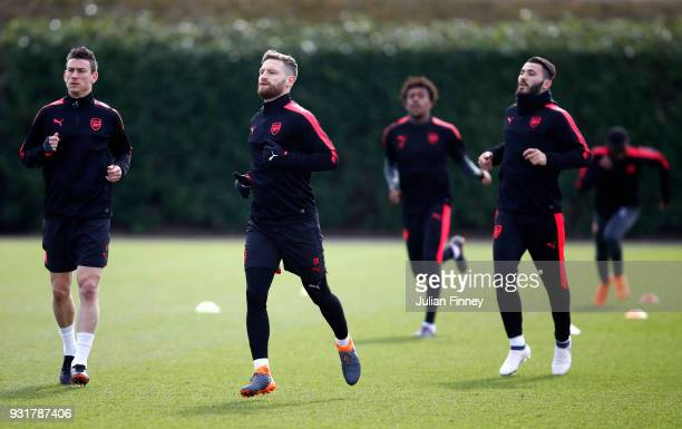 Laurent Koscielny Shkodran Mustafi and Sead Kolasinac of Arsenal during an Arsenal Training Session ahead of there Europa League 2nd Leg match...