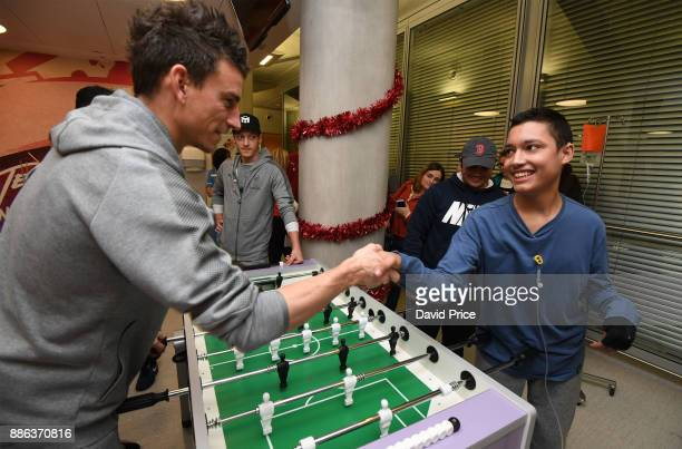 Laurent Koscielny visits the Teenage Cancer Trust Unit in University College Hospital on December 5 2017 in London England