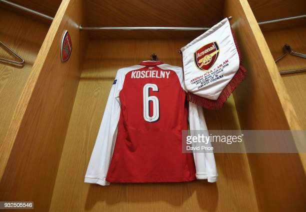 Laurent Koscielny's Arsenal Shirt and Pennant in the changingroom before the match between Arsenal and AC Milan at Emirates Stadium on March 15 2018...