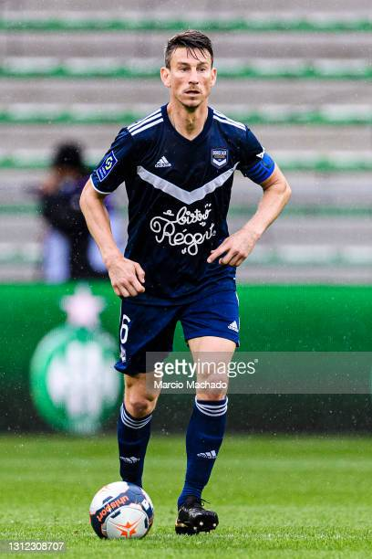 Laurent Koscienly of Bordeaux in action during the Ligue 1 match between AS Saint-Etienne and Girondins Bordeaux at Stade Geoffroy-Guichard on April...