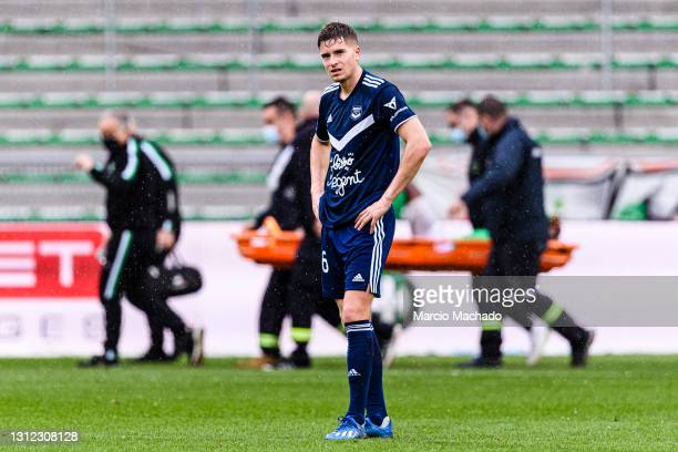 Laurent Koscienly of Bordeaux was crushed after been defeated during the Ligue 1 match between AS Saint-Etienne and Girondins Bordeaux at Stade...