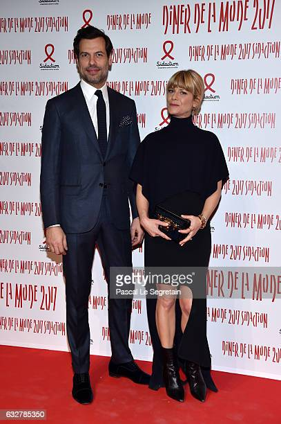 Laurent Lafitte and Marina Fois attend the Sidaction Gala Dinner 2017 Haute Couture Spring Summer 2017 show as part of Paris Fashion Week on January...