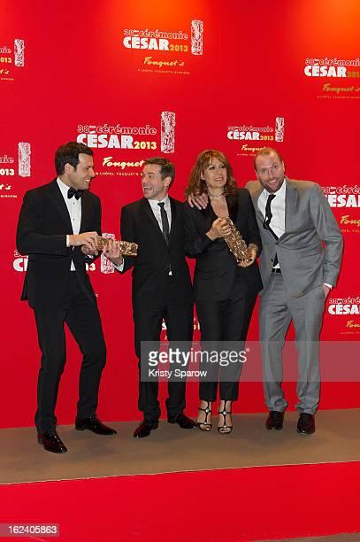 Laurent Lafitte Guillaume de Tonquedec Valerie Benguigui and Francois Damiens attend the Cesar Film Awards 2013 at Le Fouquet's on February 22 2013...