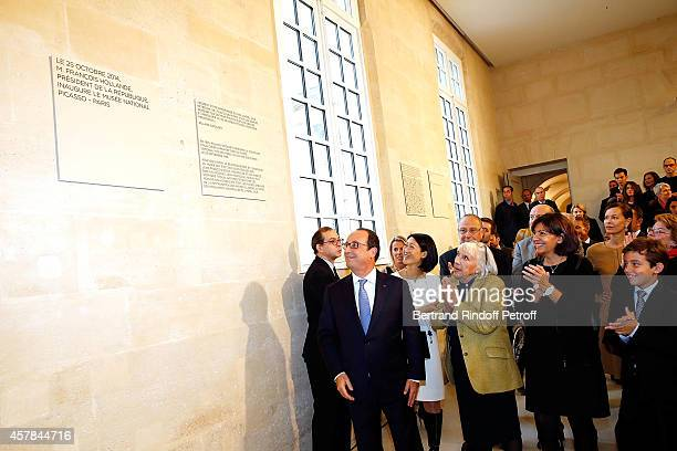 Laurent Le Bon Ministre of Culture Fleur Pellerin French President Francois Hollande Maya Widmaier Picasso Anne Hidalgo and Edouard Widmaier Picasso...