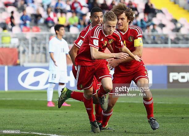 Laurent Lemoine of Belgium and Wout Faes celebrate with Dante Rigo after he scored a goal during the FIFA U17 World Cup Chile 2015 group D match...