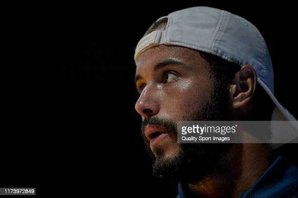Laurent Lokoli of France looks on during his Mens round of 32 match against Jaume Munar of Spain on day three of the ATP Sevilla Challenger at Real...
