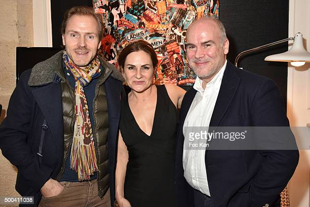 Laurent Mondy his sister Anne Mondy and Dedar Galerie director Thierry Guerin attend the 'Accords Croises' Anne Mondy Exhibition Preview at Galerie...