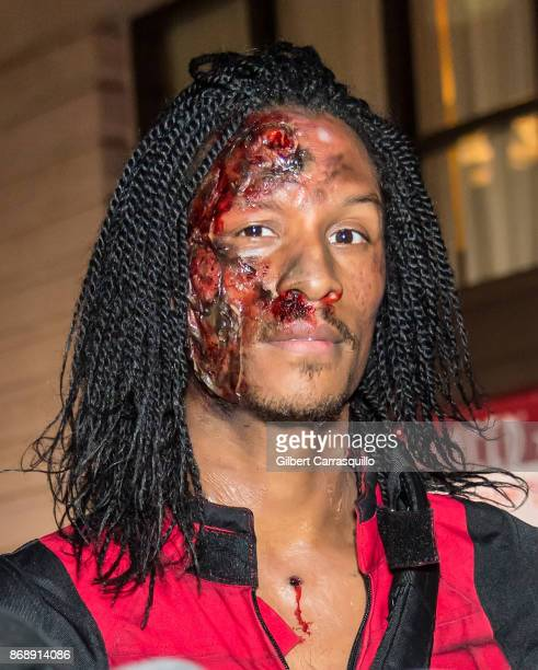 Laurent Nicolas Bourgeois of Les Twins is seen during Heidi Klum's 18th Annual Halloween Party at Magic Hour Rooftop Bar Lounge on October 31 2017 in...