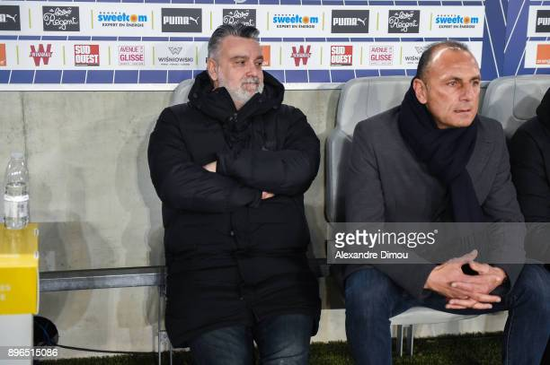 Laurent Nicollin President and Head coach of Montpellier Michel Der Zakarian during the Ligue 1 match between FC Girondins de Bordeaux and...