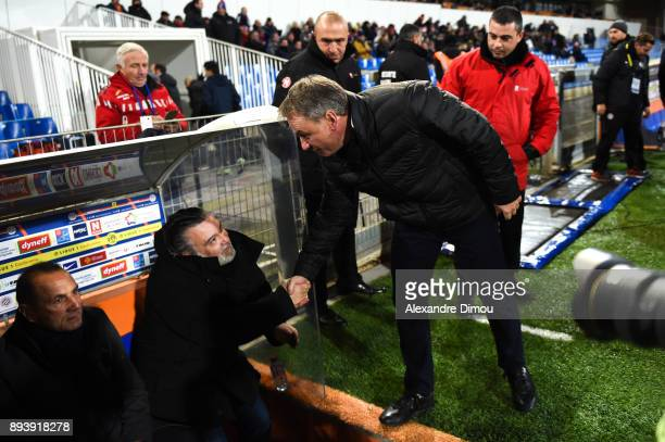 Laurent Nicollin President of Montpellier and Frederic Hantz Coach of Metz during the Ligue 1 match between Montpellier Herault SC and Metz at Stade...