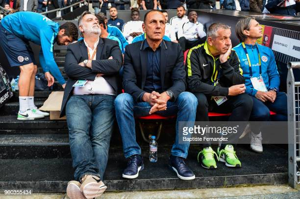 Laurent Nicollin President of Montpellier and Michel Der Zakarian head coach of Montpellier during the Ligue 1 match between Stade Rennes and...