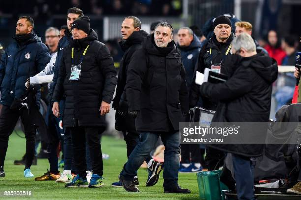 Laurent Nicollin President of Montpellier during the Ligue 1 match between Montpellier Herault SC and Olympique Marseille at Stade de la Mosson on...