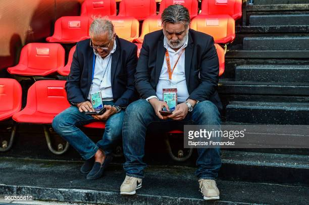 Laurent Nicollin President of Montpellier during the Ligue 1 match between Stade Rennes and Montpellier Herault SC at Roazhon Park on May 19 2018 in...