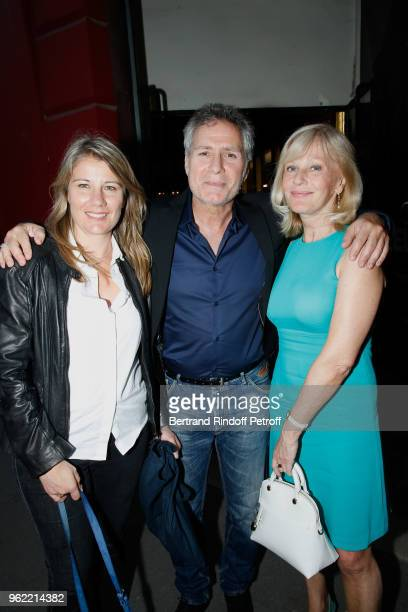 Laurent Olmedo and and Elisa Servier attend the La tete dans les etoiles Theater play at Theatre de la Gaite Montparnasse on May 24 2018 in Paris...