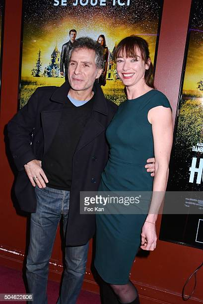 Laurent Olmedo and Delphine Rollin attend the 'House of Time' Paris Premiere at cinema Pathe Wepler on January 11 2016 in Paris France