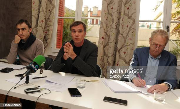 Laurent Pasquet-Marinacce , lawyer of former head of ETA Jose Antonio Urrutikoetxea also known as Josu Ternera gives a press conference, on January...