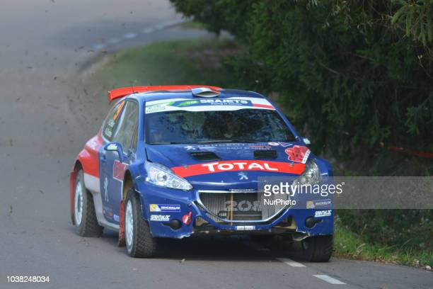 Laurent Pellier and Geoffrey Combe on Peugeot 208 T16 in action during Mikolajki MAX 913km stage on Day Two of the PZM 75th Rally Poland in Hotel...