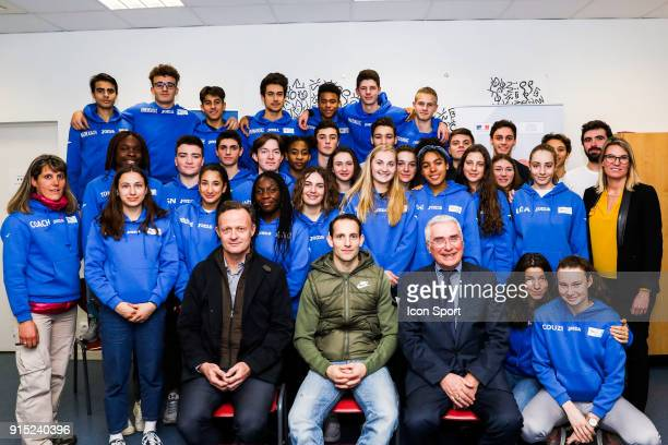 Laurent Petrynka president of UNSS and Renaud Lavillenie during the National Cross of UNSS in Blagnac France on 20th January 2018