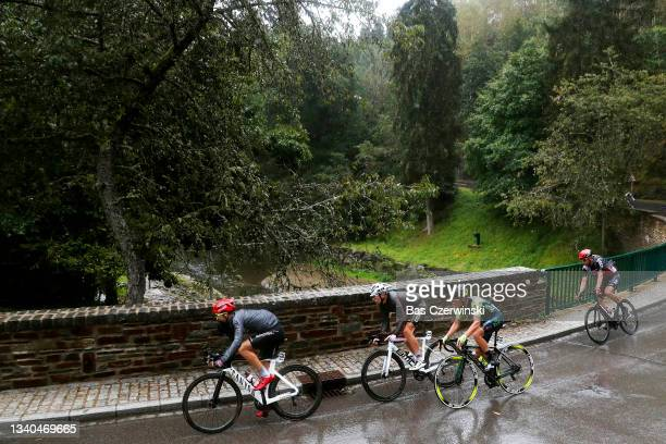 Laurent Pichon of France and Team Arkéa - Samsic, Clément Champoussin of France and AG2R Citröen Team and Leonardo Tortomasi of Italy and Team Vini...