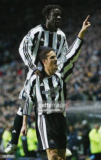 Laurent Robert of Newcastle celebrates his goal with Olivier Bernard during the FA Barclaycard Premiership match between Newcastle United and...