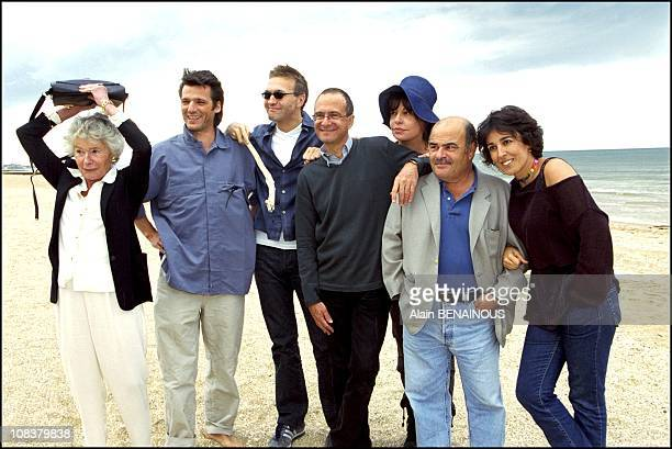 Laurent Ruquier and his crew left to right Claude Sarraute Y le Bolloch Ruquier Miller Benguigui in Cabourg France on June 16 2001