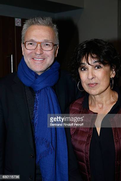Laurent Ruquier and Isabelle Alonso attend Michael Gregorio performs for his 10 years of Career at AccorHotels Arena on December 16 2016 in Paris...