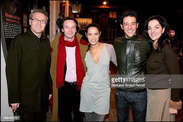 Laurent Ruquier Bruno Finck Elisa Tovati Titoff and Peri Cochin at Theatre Production Of Open Bed Playing At Bouffes Parisiens