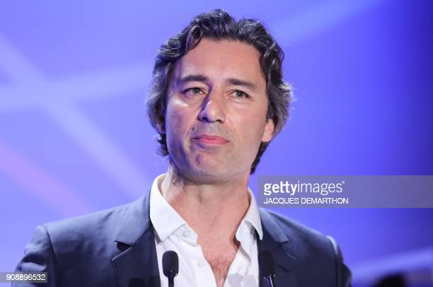 Laurent Solly vice president of Facebook Southern Europe speaks during the inauguration the interactive Facebook exhibition Connexions at startup hub...