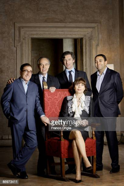 Laurent Soly President of the French Academy in Rome Frederic Mitterand Didier Sapo Yannis Chebbi and actress Elsa Martinelli pose during the filming...