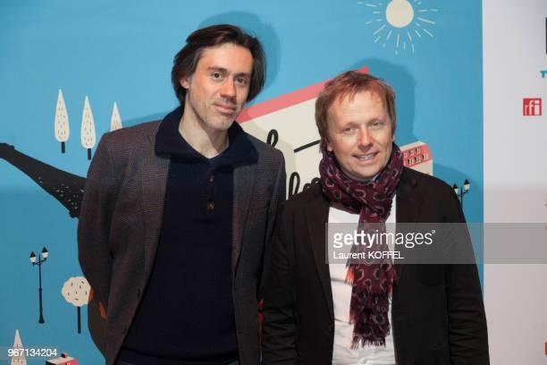 Laurent Stocker et un invité lors de la cérémonie douverture du 6ème 'My French Film Festival' à la Tour Eiffel le 17 janvier 2016 Paris France