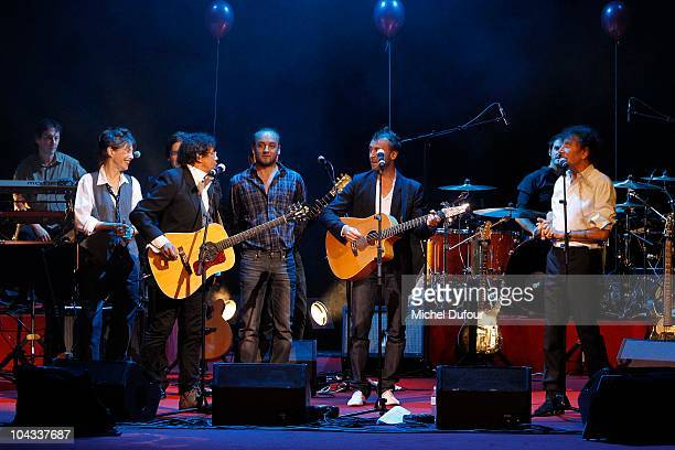 Laurent Voulzy Thomas Dutronc Jane Birkin Alain Pierre and Ours Souchon on stage during IFRAD 6th Gala at Opera Comique on September 21 2010 in Paris...