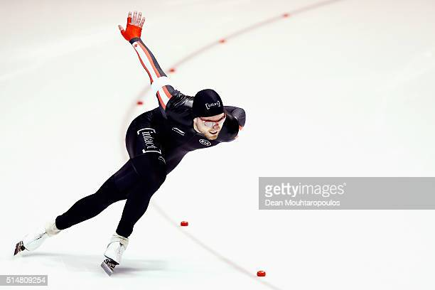 Laurent Dubreuil of Canada competes in the Men 500m race during day one of the ISU World Cup Speed Skating Finals held at Thialf Ice Arena on March...