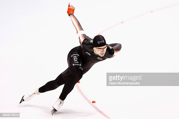 Laurent Dubreuil of Canada competes in the mens 500m race during day 1 of the ISU World Cup Speed Skating held at Thialf Ice Arena on December 11...