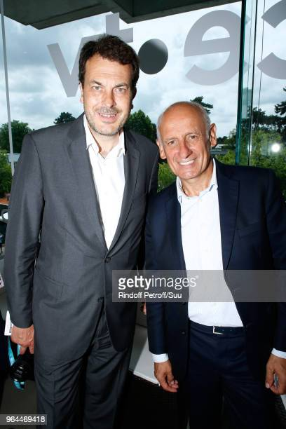 LaurentEric Le Lay and journalist JeanMichel Aphatie attend the 'France Television' Lunch during the 2018 French Open Day Five at Roland Garros on...