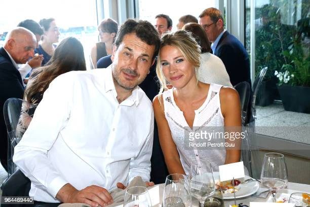Laurent-Eric Le Lay and Marion Rousse attend the 'France Television' Lunch during the 2018 French Open - Day Five at Roland Garros on May 31, 2018 in...